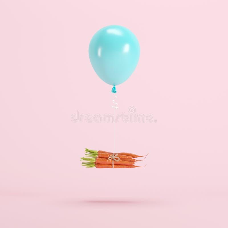 Pila de zanahorias atadas con el globo azul que flota en fondo rosado en colores pastel fotografía de archivo libre de regalías