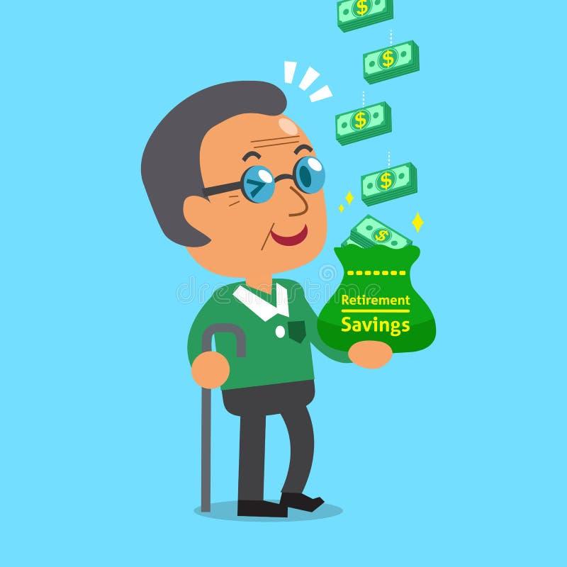 Pila dei soldi dei guadagni dell'uomo anziano del fumetto illustrazione vettoriale