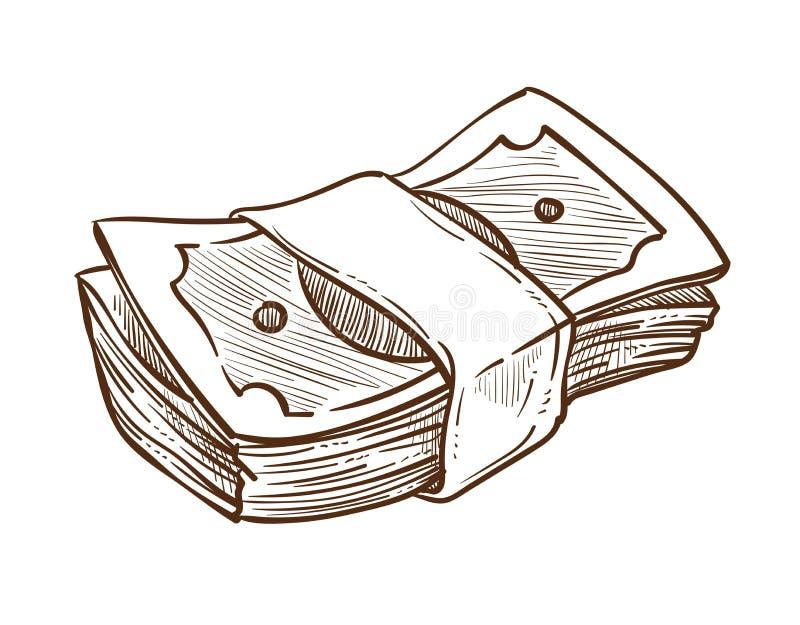Pila dei soldi nelle banconote in dollari di schizzo isolate pacco illustrazione vettoriale