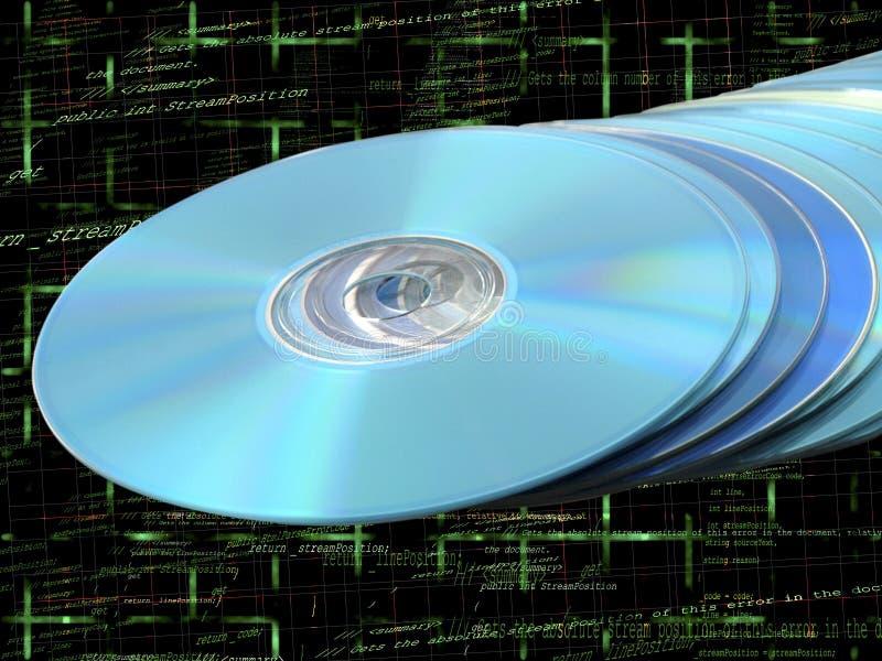 Pila del Azul-rayo de DVDs de los Cdes de discos azules en código fotos de archivo libres de regalías