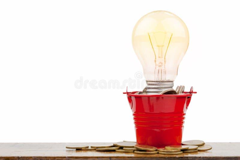 Pila del bulbo y de la moneda del LED fotos de archivo