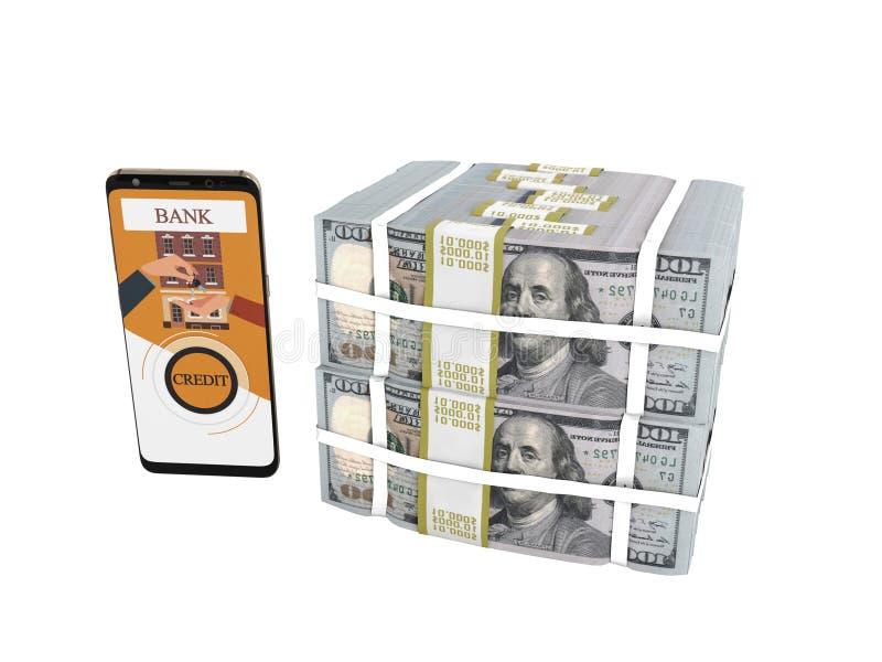 Pila del concepto de dólares en crédito bancario con el smartphone 3d no rendir en el fondo blanco ninguna sombra stock de ilustración