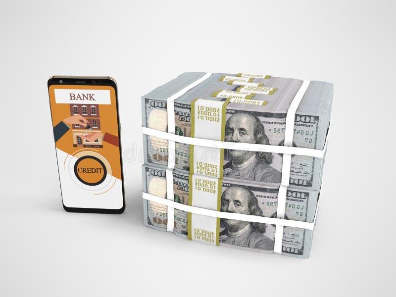 Pila del concepto de dólares en crédito bancario con el smartphone 3d rendir en fondo gris con la sombra stock de ilustración