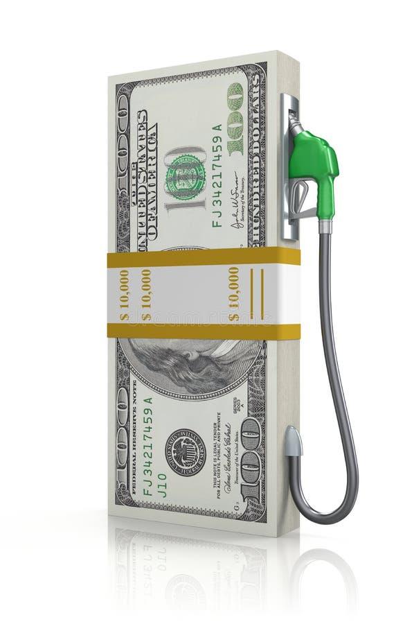 Pila del dólar con la boquilla de gas libre illustration