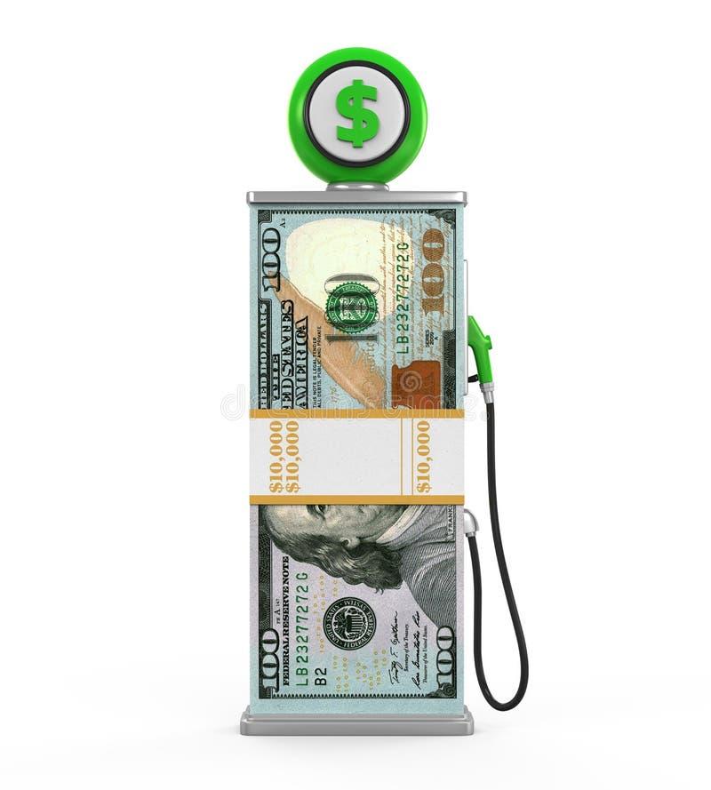 Pila del dólar y boca de la bomba de gas ilustración del vector