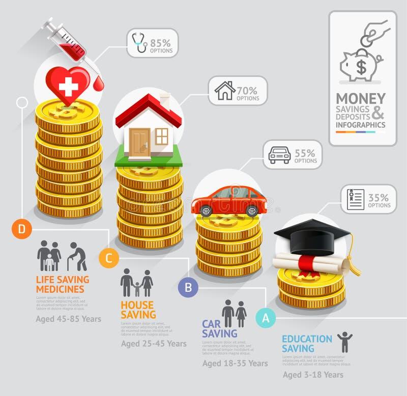 Pila del dinero de las monedas de oro stock de ilustración