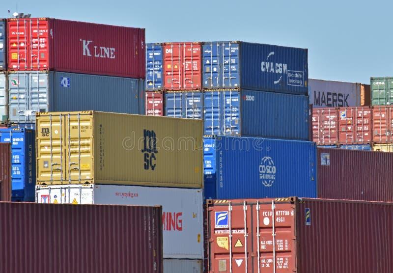 Pila del envase en el puerto interior Greer fotografía de archivo libre de regalías