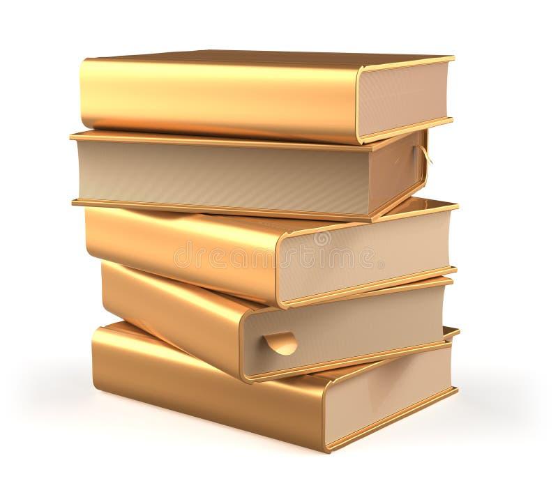 Pila del libro de texto de los libros cinco de espacio en blanco del amarillo del oro de las cubiertas de libro libre illustration
