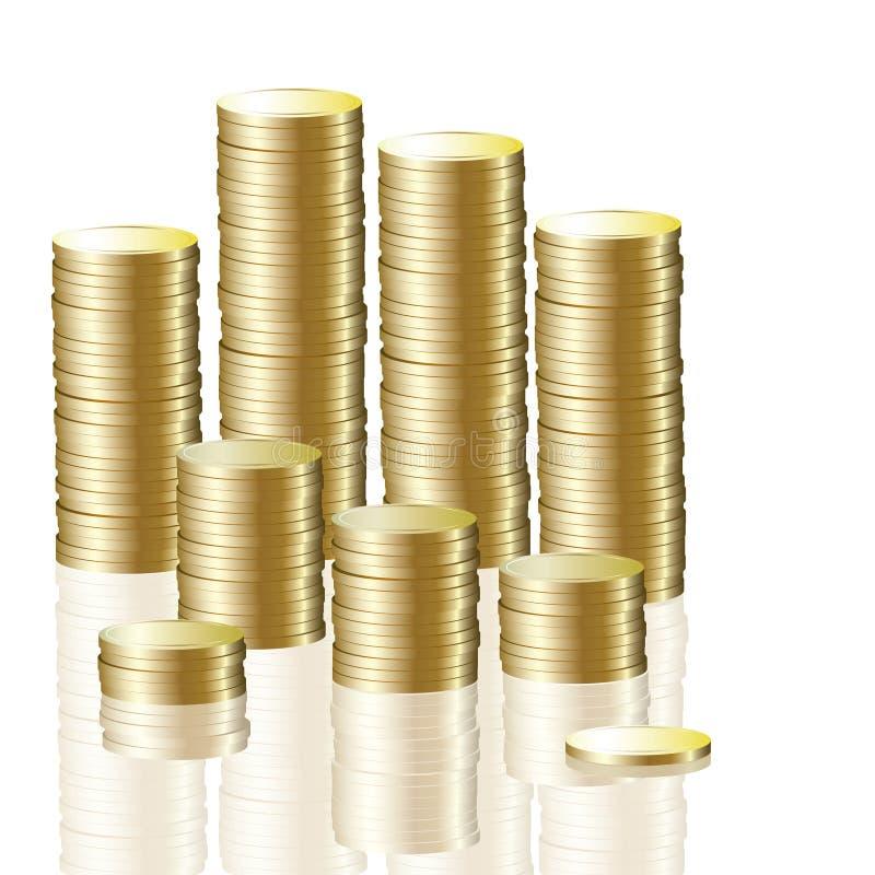 Pila della moneta di oro illustrazione vettoriale