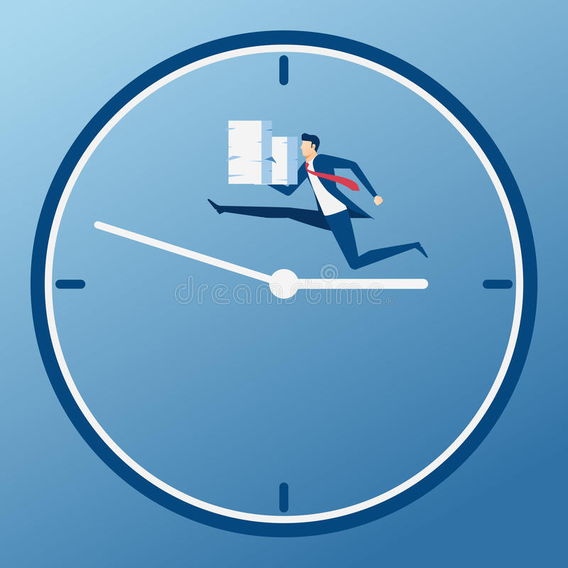 Pila della tenuta dell'uomo d'affari di funzionamento di carta sul tempo di affari La pressione di tempo, sforzo, ha sovraccarica illustrazione di stock