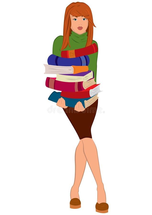 Pila della tenuta della giovane donna del fumetto di libri illustrazione di stock