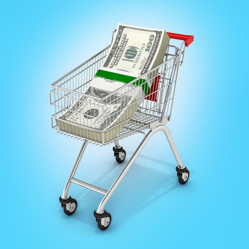 Pila di banconote in dollari dell'americano cento dei soldi nel carrello di compera su fondo blu 3d royalty illustrazione gratis