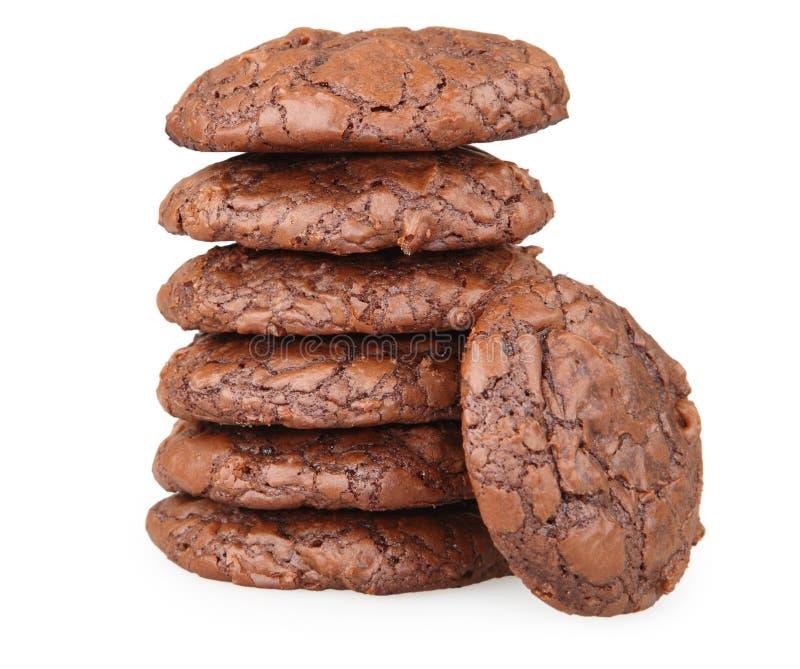 Pila di biscotti del brownie del cioccolato fotografia stock