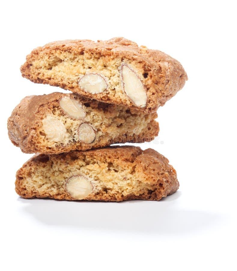 Pila di biscotti di cantuccini con la mandorla fotografia stock