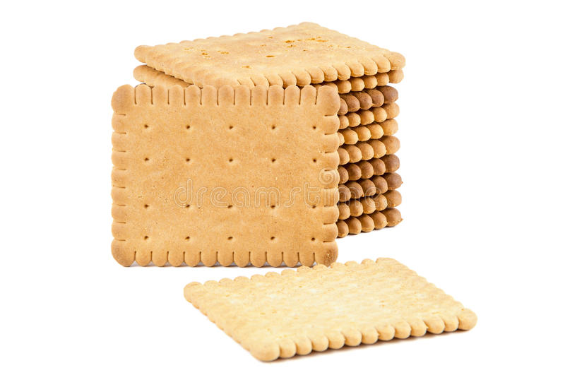 Pila di biscotti su fondo bianco fotografie stock libere da diritti