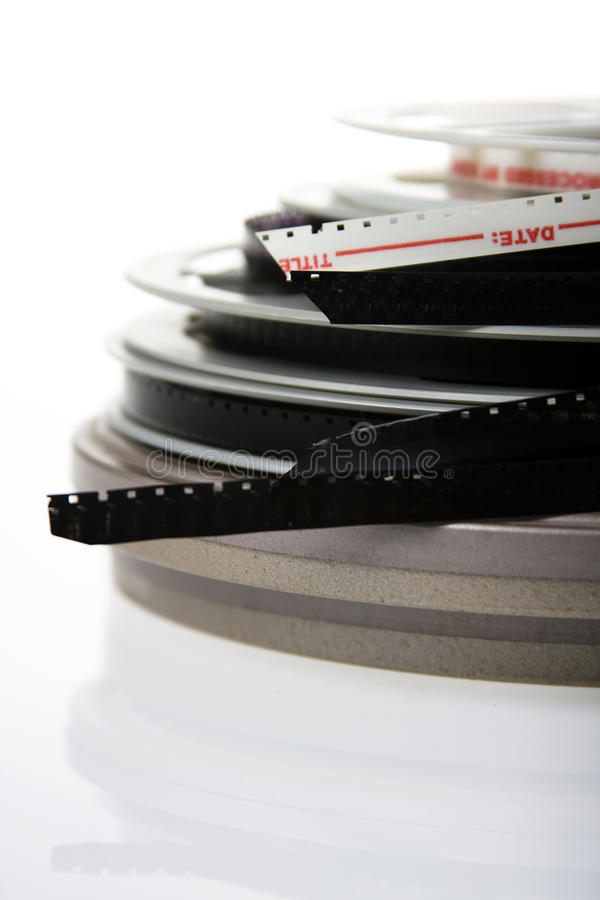 pila di bobine di pellicola fotografia stock