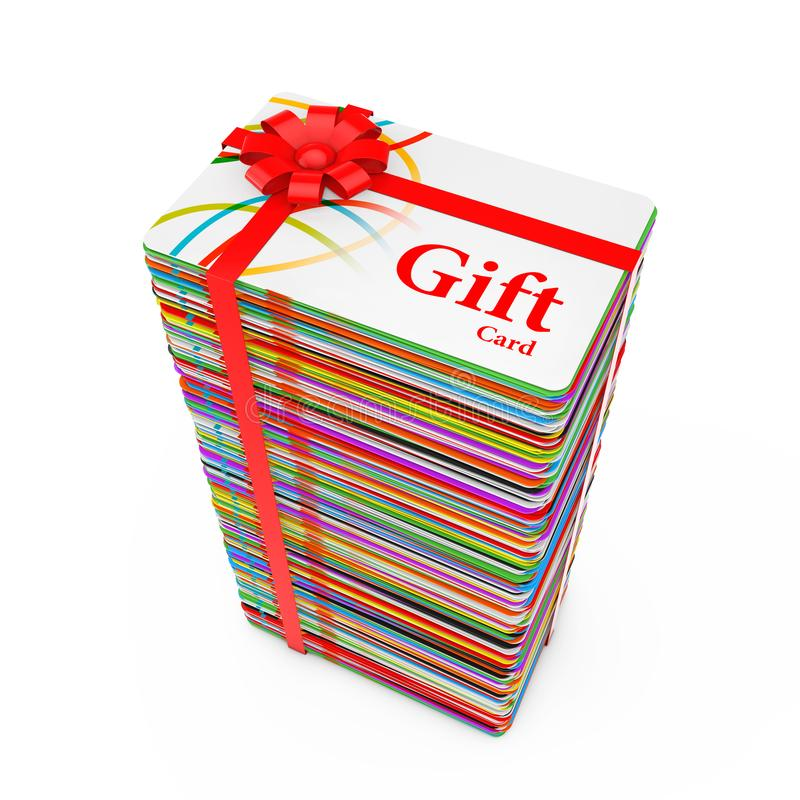 Pila di carte di regalo di plastica multicolori con il nastro e l'arco rossi rappresentazione 3d fotografia stock libera da diritti
