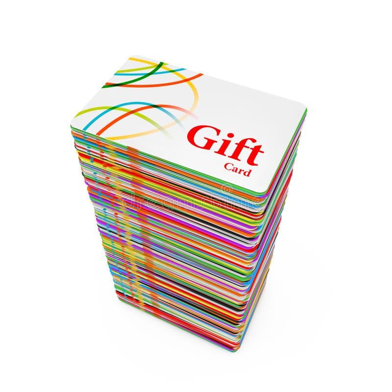 Pila di carte di regalo di plastica multicolori rappresentazione 3d illustrazione vettoriale