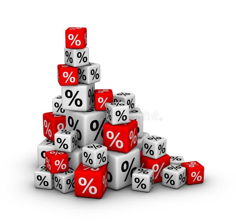 Pila di caselle con il segno di percentuali royalty illustrazione gratis