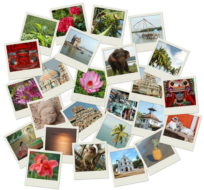 Pila di colpi della foto con i limiti del sud dell'India immagine stock