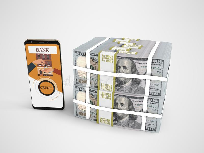 Pila di concetto di dollari nel prestito bancario tramite lo smartphone 3d rendere su fondo grigio con ombra illustrazione di stock