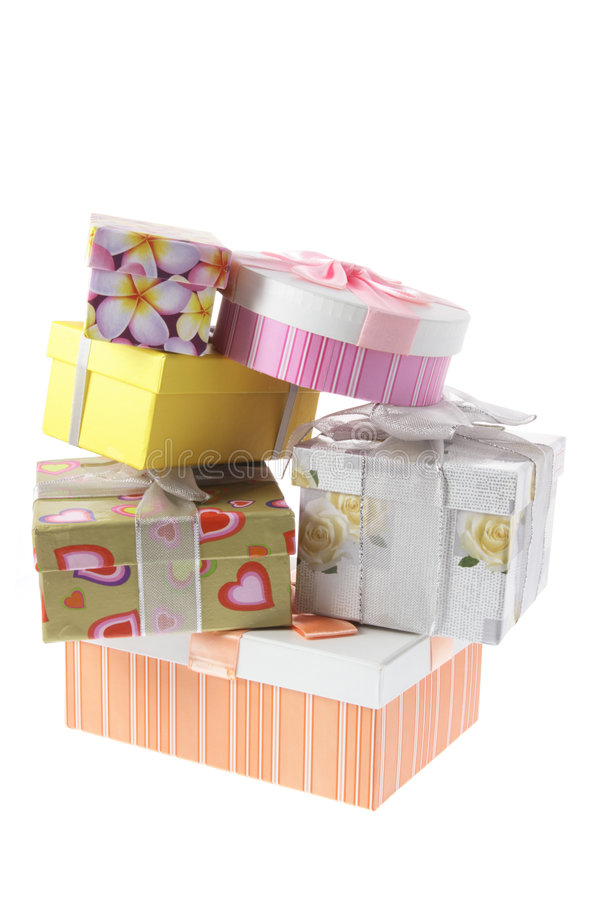 Pila di contenitori di regalo fotografia stock
