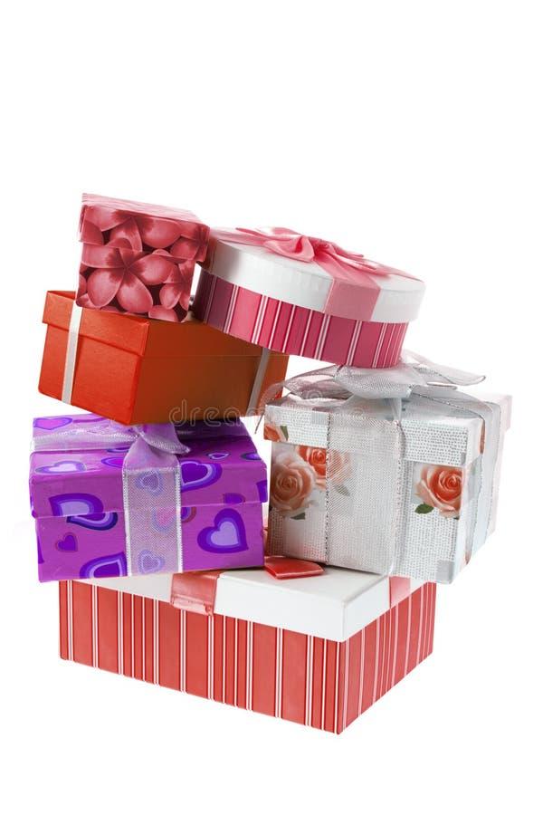 Pila di contenitori di regalo immagine stock libera da diritti