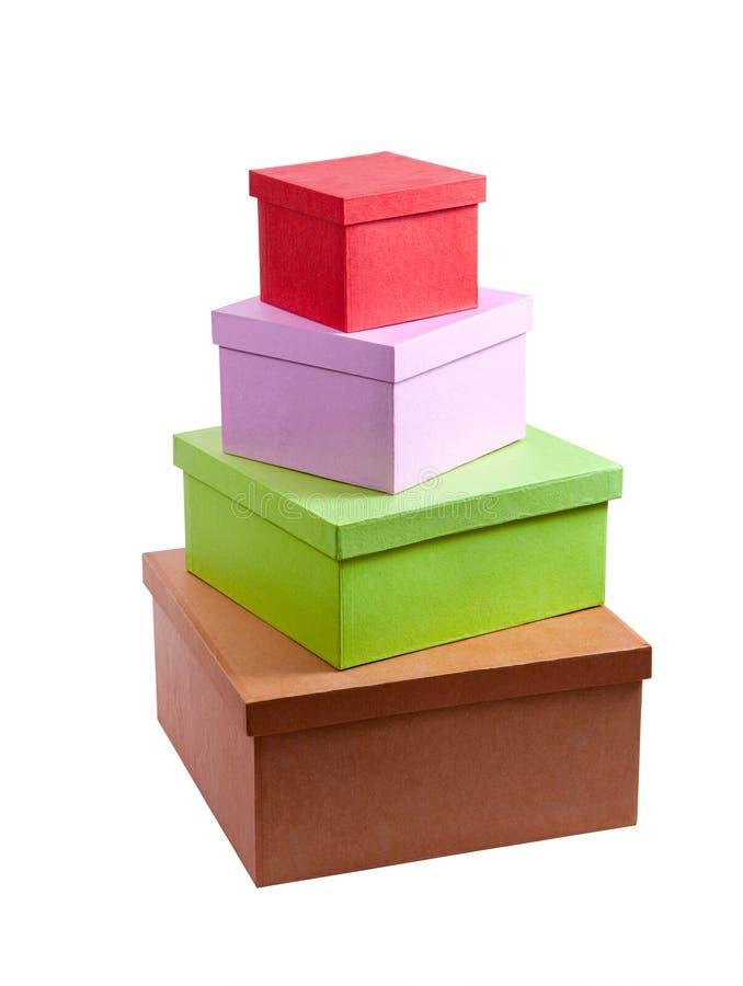 Pila di contenitori di regalo del cartone immagini stock libere da diritti