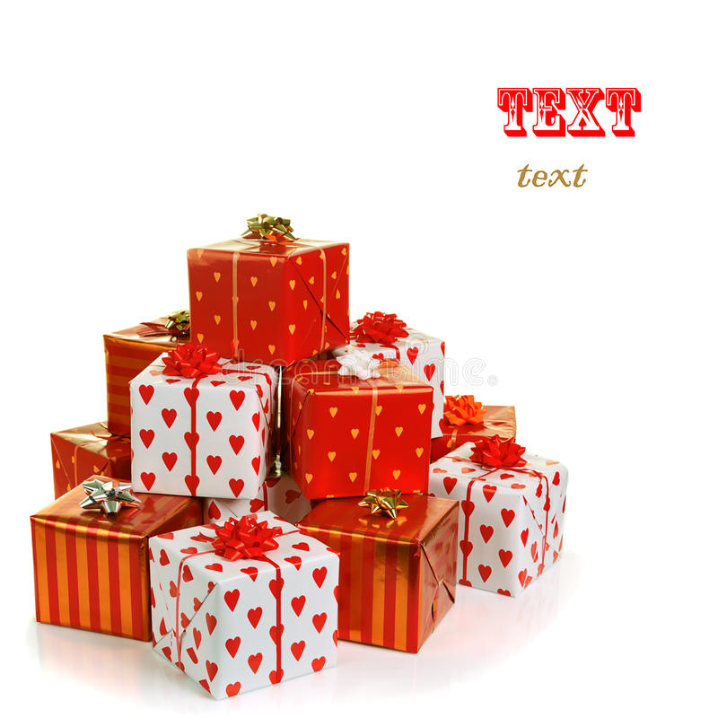 Pila di contenitori di regalo rossi fotografia stock