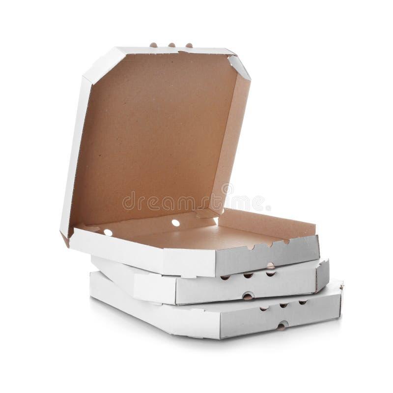 Pila di contenitori di pizza del cartone fotografia stock libera da diritti