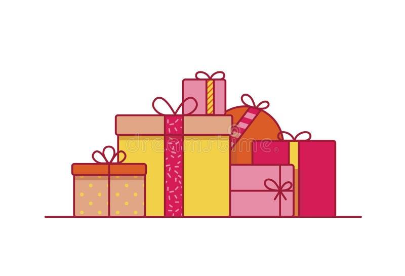 Pila di contenitori di regalo festivi avvolti in carta e decorati con i nastri e gli archi Mucchio dei presente o delle sorprese  illustrazione vettoriale