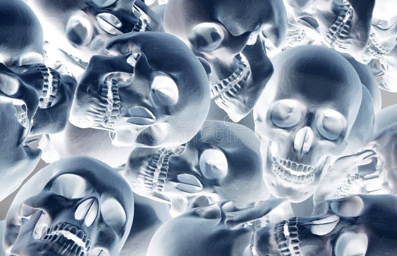 Pila di crani umani illustrazione vettoriale