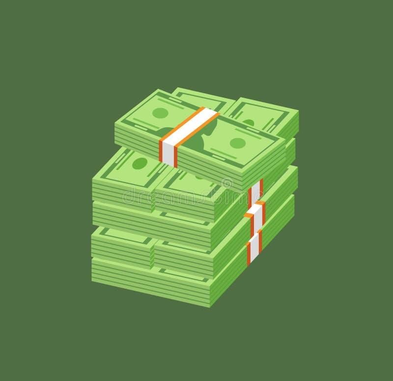 Pila di denaro contante di carta o di valuta Banconote in dollari o banconote americane nei pacchetti ed in pacchi isolati su ver royalty illustrazione gratis