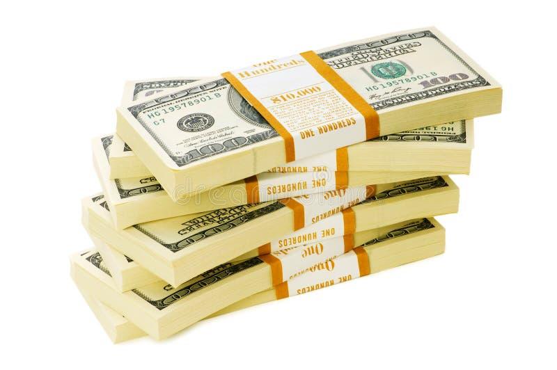 Pila di dollari isolati immagine stock libera da diritti