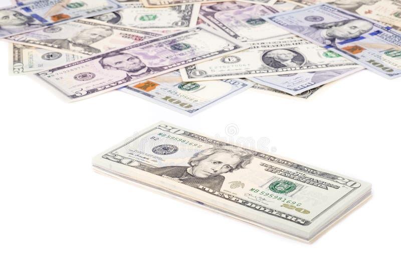 Pila di fatture del dollaro americano con 20 dollari sul principale 2 fotografia stock