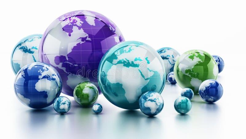 Pila di globi brillanti isolati su fondo bianco illustrazione 3D illustrazione di stock