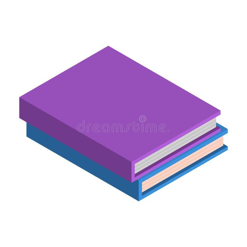 Pila di icona del libro di scuola, stile isometrico royalty illustrazione gratis