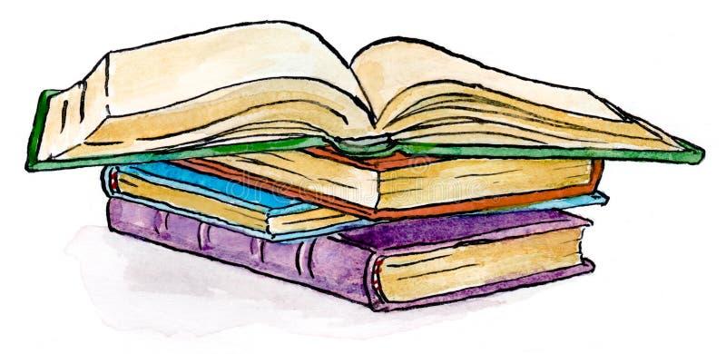 Pila di illustrazione di libri fotografia stock libera da diritti
