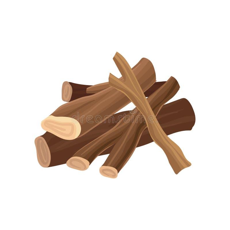 Pila di legna da ardere Asciughi i ceppi per il falò Industria di legno di produzione del legname Materiale di legno Elemento pia illustrazione di stock