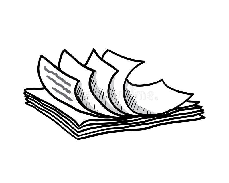 Pila di Libri Bianchi, stile disegnato a mano, vettore illustrazione vettoriale