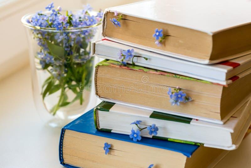 Pila di libri con i piccoli fiori blu fra le pagine sulla tavola bianca fotografia stock