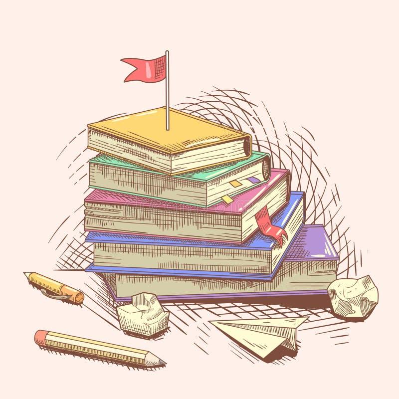 Pila di libri con la bandiera rossa sulla cima Raggiunga il vostro obiettivo Concetto di istruzione disegnato a mano royalty illustrazione gratis