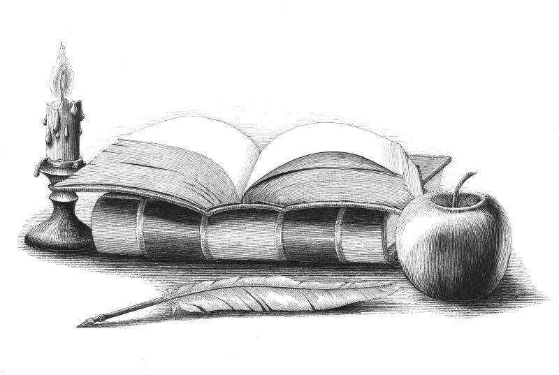 Pila di libri con la mela, penna di spoletta, inglese d'annata del disegno della mano della candela illustrazione vettoriale