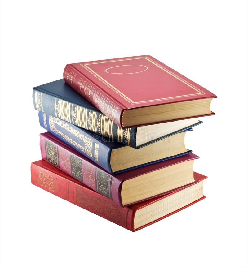 Pila di libri dell'annata fotografia stock