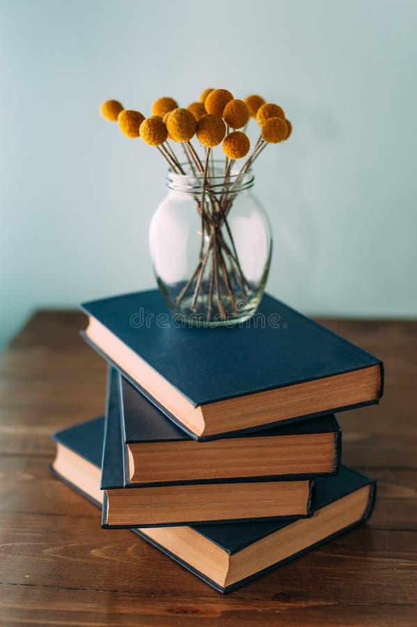 Pila di libri e di fiori fotografia stock