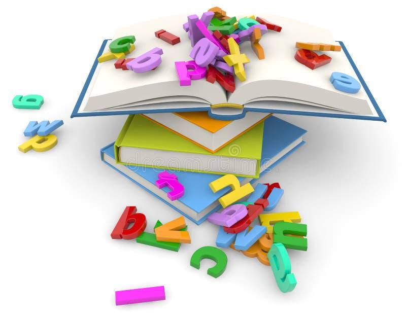 Pila di libri e di lettere variopinte royalty illustrazione gratis