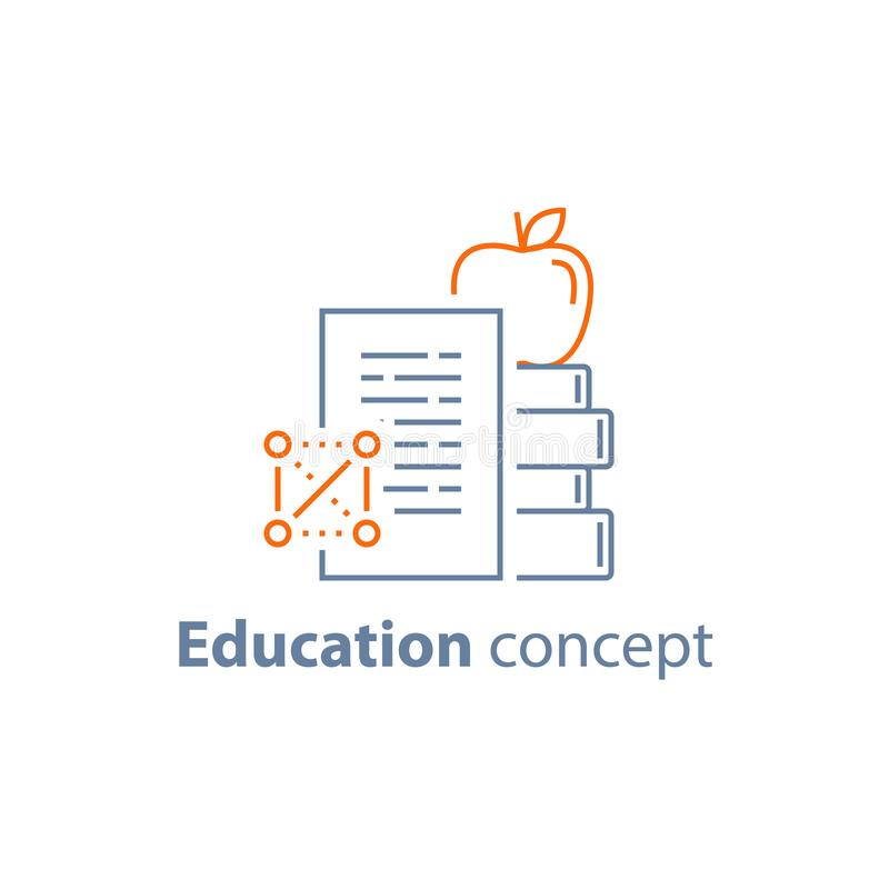 Pila di libri e di mela sulla cima, concetto di istruzione, imparante corso, realizzazione royalty illustrazione gratis