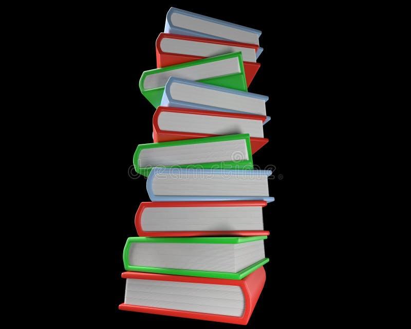 Pila di libri multicolori isolati su fondo nero fotografia stock libera da diritti