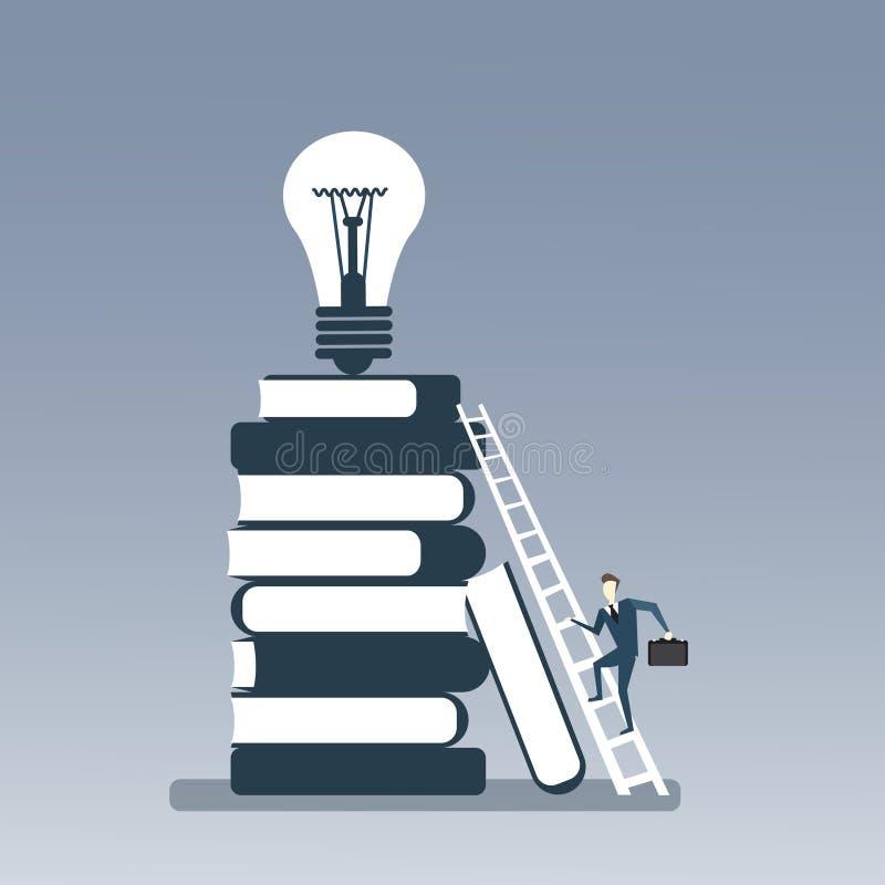 Pila di libri rampicante dell'uomo di affari alla lampadina sul nuovo concetto creativo superiore di idea illustrazione vettoriale
