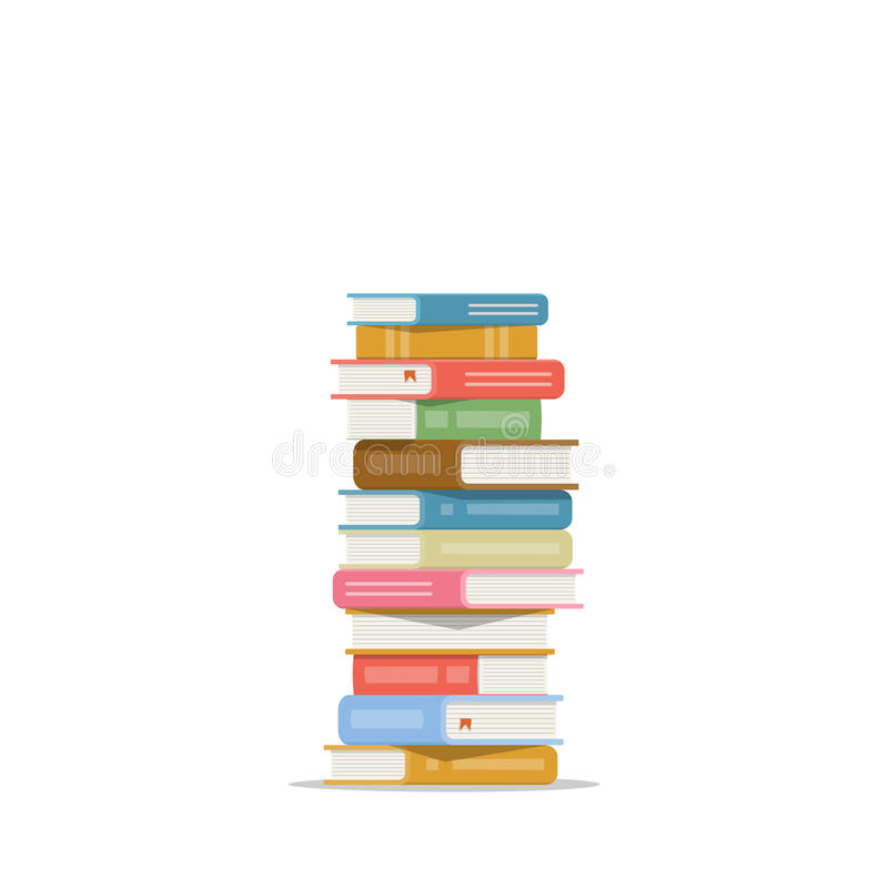 Pila di libri su una priorità bassa bianca Mucchio dell'illustrazione di vettore dei libri Pila dell'icona di libri nello stile p illustrazione vettoriale